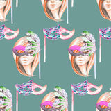 Masquerade theme seamless pattern with female image masked Venetian style Royalty Free Stock Images