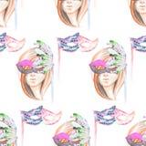 Masquerade theme seamless pattern with female image masked Venetian style Royalty Free Stock Image