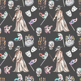 Masquerade theme seamless pattern with skulls, chandeliers with candles, plague doctor costume and masks in Venetian style. Hand drawn on a dark background stock illustration