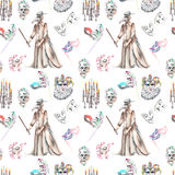 Masquerade theme seamless pattern with skulls, chandeliers with candles, plague doctor costume and masks in Venetian style Stock Photos