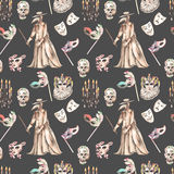 Masquerade theme seamless pattern with skulls, chandeliers with candles, plague doctor costume and masks in Venetian style Stock Images
