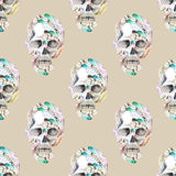 Masquerade theme seamless pattern with watercolor skulls in feathers Stock Photography