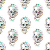Masquerade theme seamless pattern with watercolor skulls in feathers Stock Image