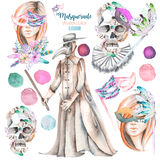Masquerade theme set with female images in masks, design skulls in Venetian style and plague doctor Stock Images