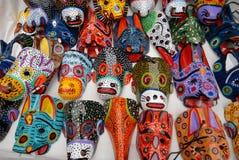 Masques animaux en bois Photo stock