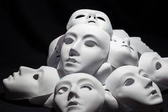 Masques blancs de théâtre image stock
