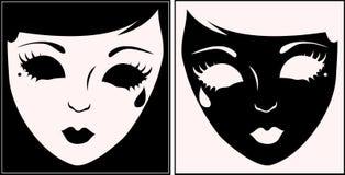 Masques blancs et noirs. Photos libres de droits