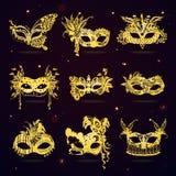 Masques d'or de partie de mascarade de dentelle réglés illustration libre de droits