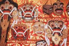 Masques d'exposition traditionnelle de Balinese Rangda et de Topeng Images libres de droits