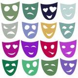 Masques de différentes émotions dans différentes couleurs trame Images stock