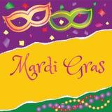 Masques de fête de Mardi Gras d'affiche et perles colorées Images libres de droits