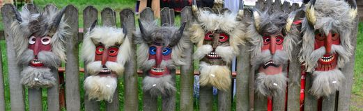 Masques de fête roumains traditionnels Image libre de droits