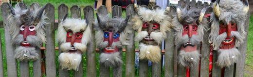 Masques de fête roumains traditionnels Image libre de droits