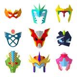 Masques de superhéros réglés pour des caractères Image libre de droits