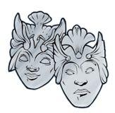 Masques de théâtre de comédie de tragédie Images libres de droits