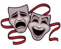 Masques de théâtre de comédie et de tragédie Photos stock