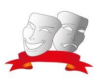 Masques de théâtre de vecteur avec la bande rouge Image stock