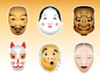 Masques du Japon Noh et de Kyogen Photo stock