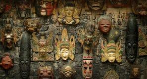 Masques en bois de Balinese Photographie stock libre de droits