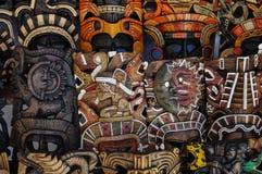 Masques en bois maya Images stock