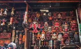 Masques faits main à Katmandou Images libres de droits