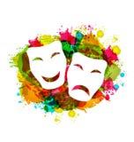 Masques simples de comédie et de tragédie pour le carnaval sur le grunge coloré Image libre de droits