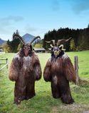 Masques traditionnels alpins de Krampus Images libres de droits