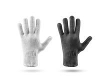 Masquez l'ensemble tricoté de maquette de gants d'hiver, noir et blanc photo libre de droits