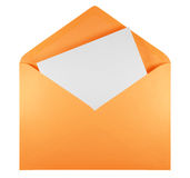 Masquez l'enveloppe ouverte - orange Photographie stock