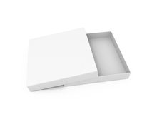 Masquez la boîte ouverte à pizza de carton Photos libres de droits