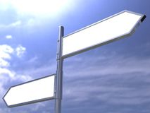 Masquez le poteau de signe directionnel de route Image stock