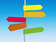 Masquez les panneaux routiers directionnels colorés illustration stock