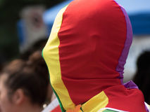 Masquez sortir conceptuel masculin gai de visage de bâche de tissu de couleurs de lgbt d'arc-en-ciel Photos stock