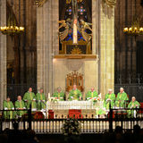 Mass at Barcelona Cathedral, Spain Royalty Free Stock Image