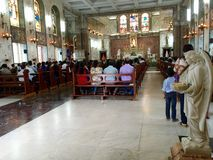 Mass being celebrated at The Shrine of Don Bosco's Madonna, Matunga, Mumbai India Royalty Free Stock Photos