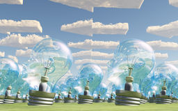 Mass of bulb heads pointing with arrow clouds. Mass of bulb heads pointing in direction of arrow clouds stock illustration