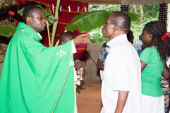 Mass at the church in the village. Stock Photos