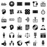 Mass communication icons set, simple style. Mass communication icons set. Simple set of 36 mass communication vector icons for web isolated on white background stock illustration