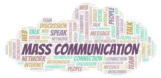 Mass Communication word cloud. Wordcloud made with text only stock illustration
