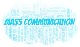 Mass Communication word cloud. Wordcloud made with text only vector illustration