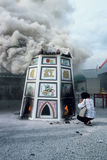Mass cremation in Thailand. Ethnic Chinese ceremony, exhuming unmarked and paupers' graves from cemeteries and cremating remains Royalty Free Stock Photography