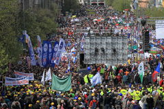 Mass crowd of demonstrating people in Prague Stock Image