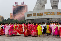 Mass Dance on National Holiday 2011 in DPRK. Dancers waiting in front of the Monument to the Founding of the North Korean Workers' Party Stock Photography