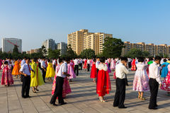 Mass dances in honor of victory day,  Pyongyang North Korea Royalty Free Stock Image