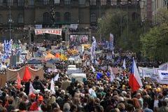 Mass demonstration in Prague Royalty Free Stock Image