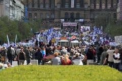 Mass demonstration in Prague Stock Photos