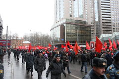 Mass demonstration of Russian left on November 7th Stock Photography