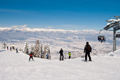 Mass downhill skiing Royalty Free Stock Photos