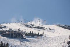 Mass downhill skiing Stock Photos