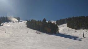 Mass downhill skiing stock video